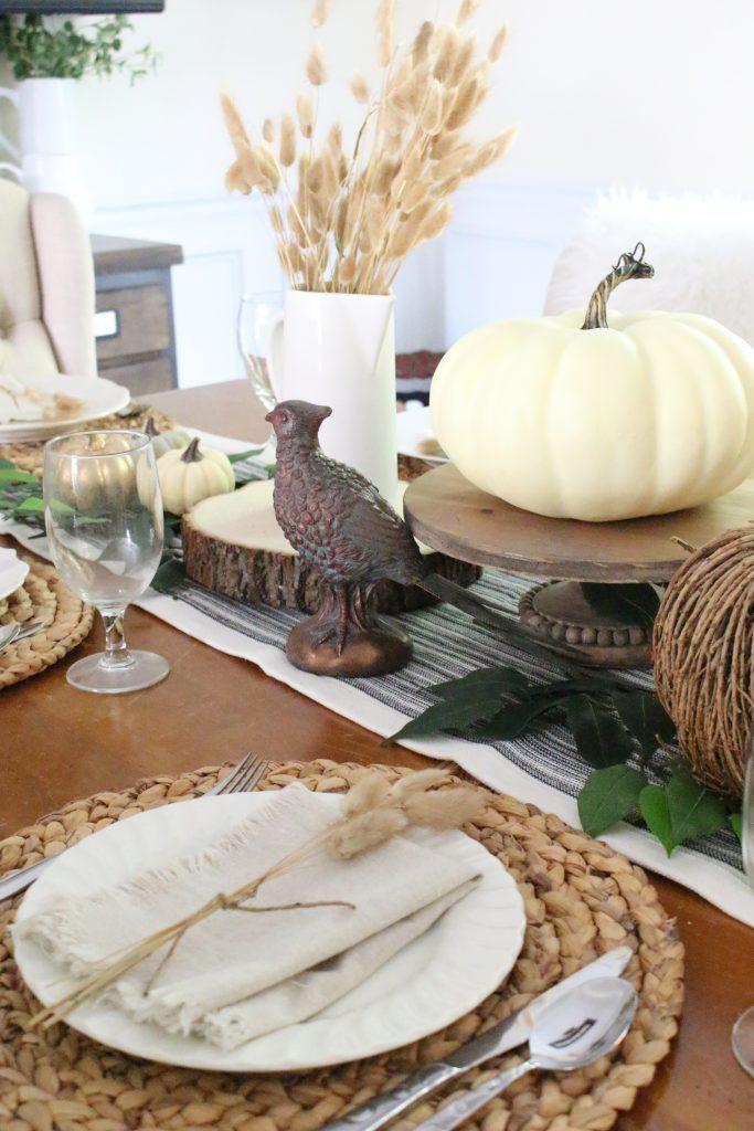 Simple Neutral Fall Tablescape- How to Create a Neutral Fall Table- table decor- table setting- tablescape- home design- fall- seasonal decor- Do it Yourself- DIY- DIY projects- rustic home decor- decoration ideas- room decor ideas- pheasant