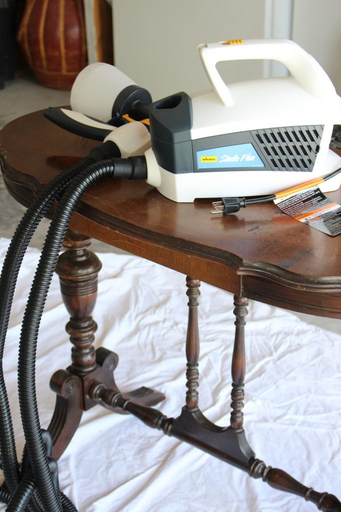 Using a Wagner Control Spray Sprayer to paint furniture- painted furniture- white furniture- DIY- Do it Yourself- spray paint machine- home decor- room design- Craft- Craft Ideas- DIY projects- Rustic Home decor- painting