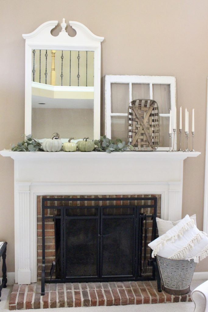 Neutral & Serene Fall Mantel Fall Mantel- using neutral colors for fall- mantel decor- mantles- mantel decorating- home decor- home design- seasonal decor- decorating for fall- fall- autumn- pumpkins- fireplace mantels- craft- craft ideas- room design- rustic home decor- decoration ideas- DIY- DIY projects- Do it Yourself- green pumpkins- olive basket