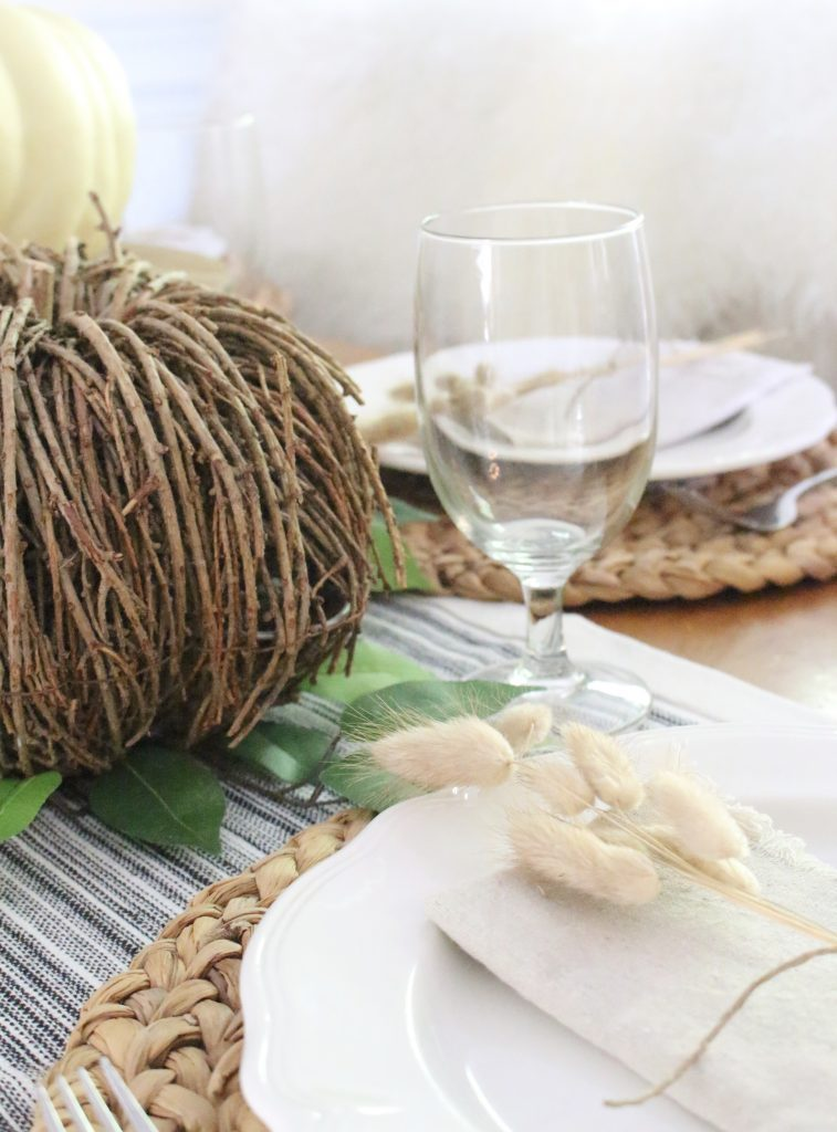 Simple Neutral Fall Tablescape- How to Create a Neutral Fall Table- table decor- table setting- tablescape- home design- fall- seasonal decor- Do it Yourself- DIY- DIY projects- rustic home decor- decoration ideas- room decor ideas- farmhouse decor- rustic table setting