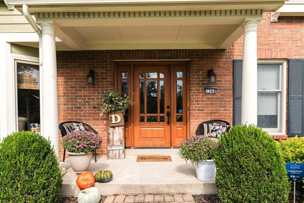 Whole House Tour- Photo by Justin Sheldon Photography- home design, room decor ideas- DIY- DIY projects- exterior of home- wood door- front porch- fall porch