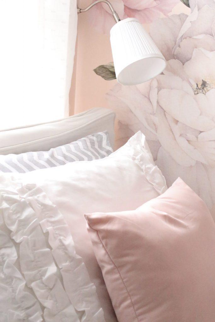Sweet & Feminine Tween Girl bedroom space- kids bedrooms- girl bedrooms- flower wall decals- white ruffled bedding- pink room- home design- home decor- wall decor ideas- bedroom decor ideas- white bedding- peony wall paper- flower wallpaper decals- blush walls- Beddy's bedding- zip up bedding- pink and gray- removable wall decals