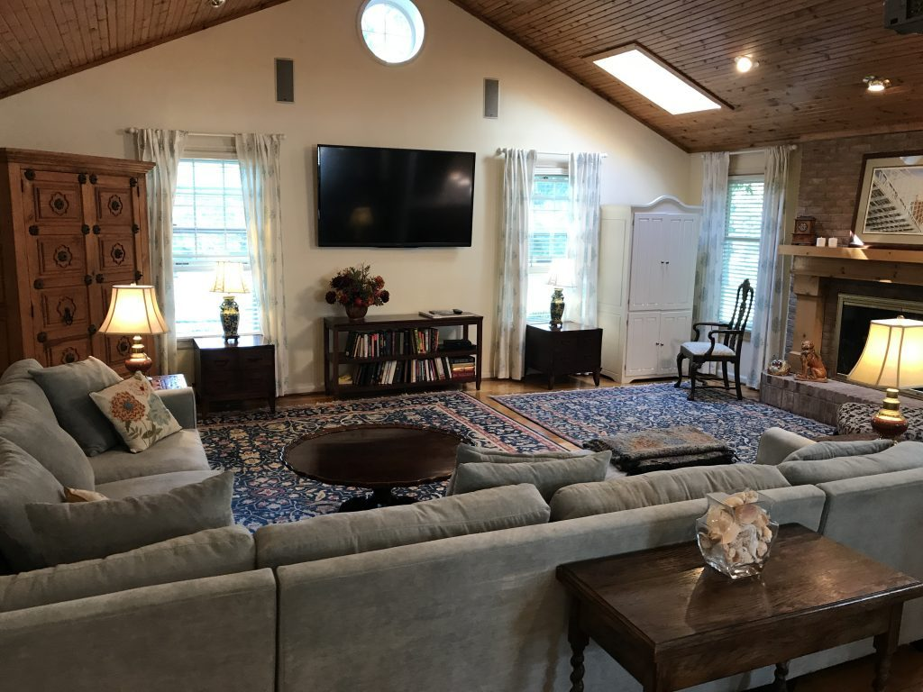 Before Picture of Pine Plank Ceiling- Gray and White Cottage Living Space- farmhouse style room- decor- DIY- weathered wood ceiling treatment- painted ceiling- paint and stain treatment on pine- how to- paint- stain- wood- ceiling- winter decor- room design- home decor- living room decorating ideas- rustic home decor- wall decorating ideas- decoration ideas- room decor ideas- mantel ideas- french county style decor-tv room