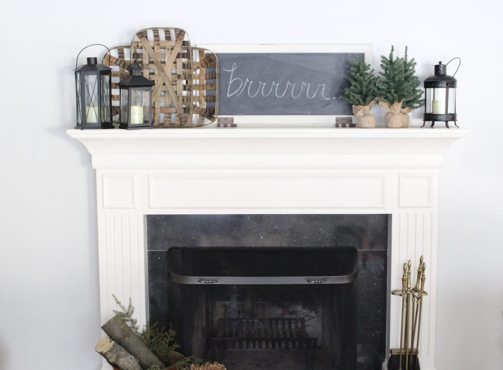 Cozy Peaceful Winter Mantel- mantel decor- room design- rustic home decor- wall decorating ideas- mantle- decoration ideas- living room decorating ideas- DIY- DIY projects- home decor- winter decor- winter decorating- winter mantel