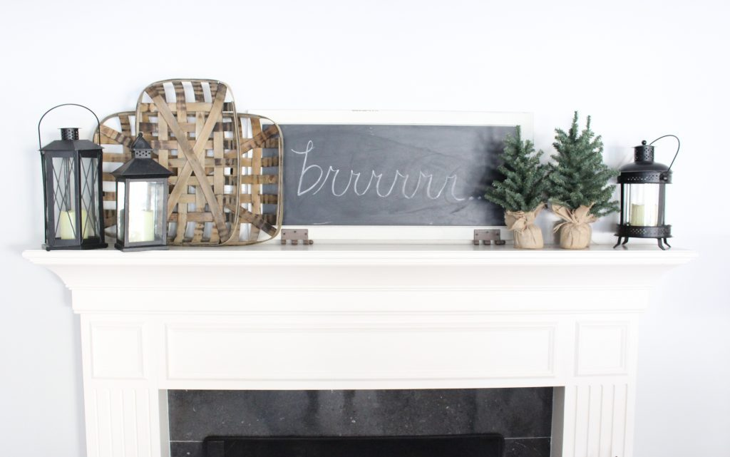 Cozy Peaceful Winter Mantel- mantel decor- room design- rustic home decor- wall decorating ideas- mantle- decoration ideas- living room decorating ideas- DIY- DIY projects- home decor- winter decor- winter decorating- winter mantel- chalkboard art
