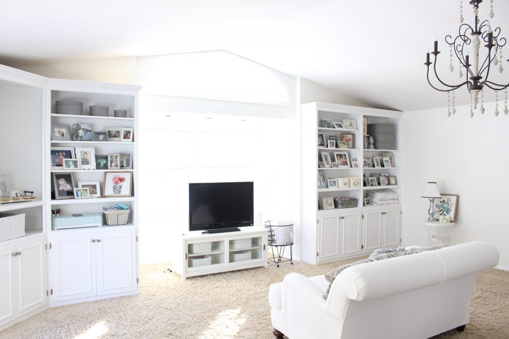 White Cottage Style Bedroom with bookcases- shabby chic style- cottage style- coffee station- bedroom design- how to style a coffee station- bookcase- DIY- DIY projects- Keurig- mint green coffee maker- white bedroom decor- room design