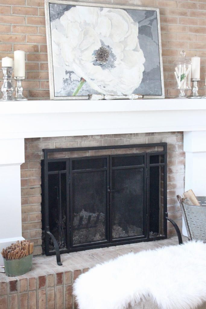 Gray and White Cottage Living Room Dressed for Winter ...