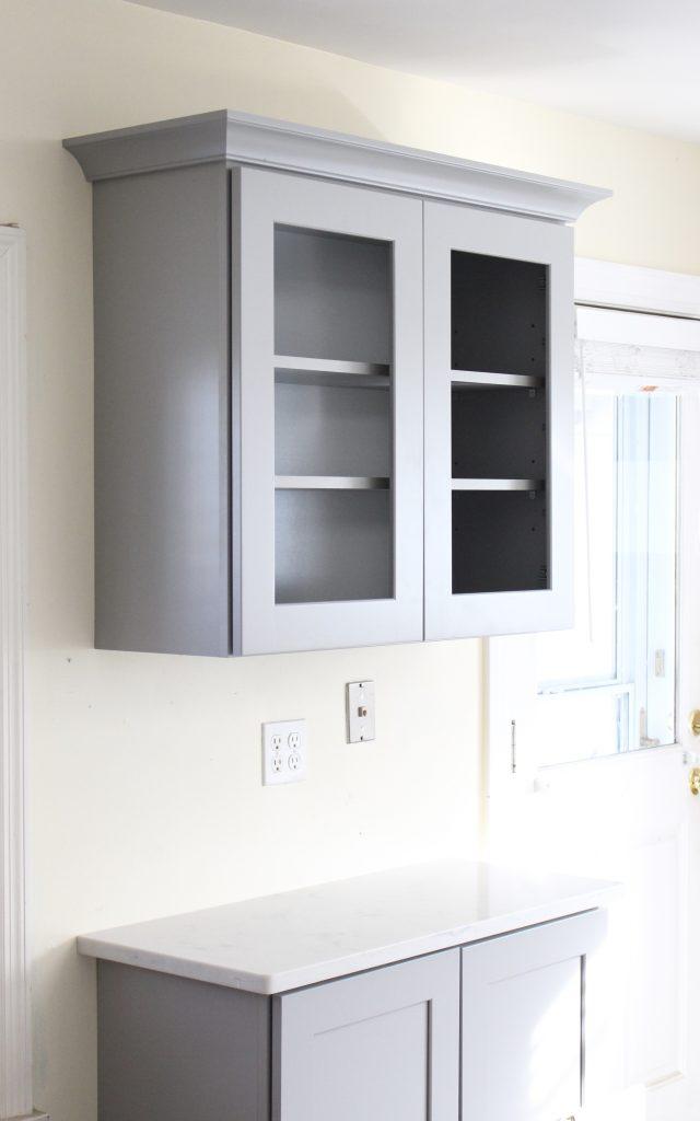 White and Bright Cottage Kitchen Makeover- new cabinets- kitchen- quartz countertops- renovation- DIY- updated counters- white cabinets- gray cabinets- home decor- kitchen design- farmhouse kitchen