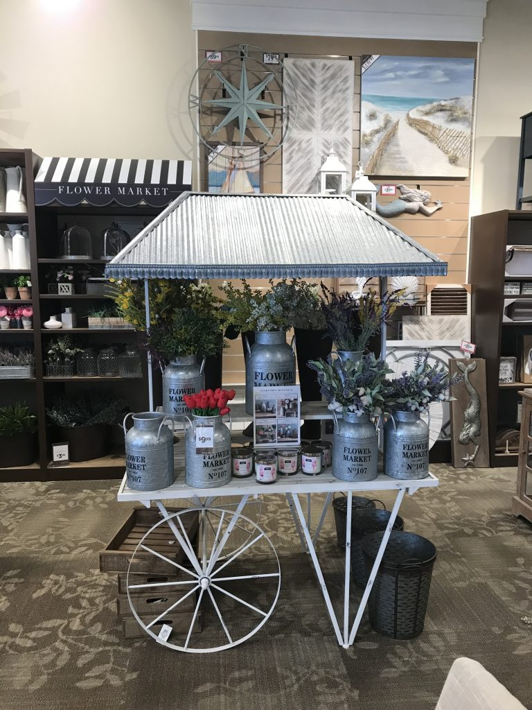 flower market- flower cart- Kirkland's- home decor- design- spring- decorating- faux flowers