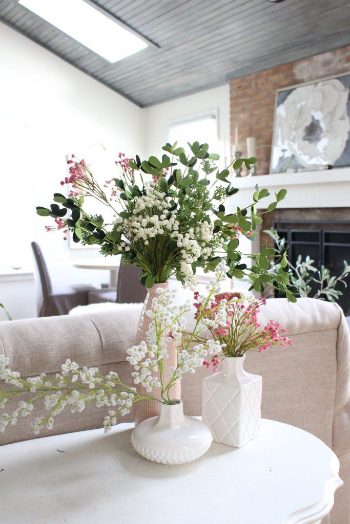 spring decor- spring decorating- home decor ideas for spring- Kirkland's Flower Market- DIY flower arrangements- DIY projects- decoration ideas- room decor ideas- crafts- craft ideas- spring living space