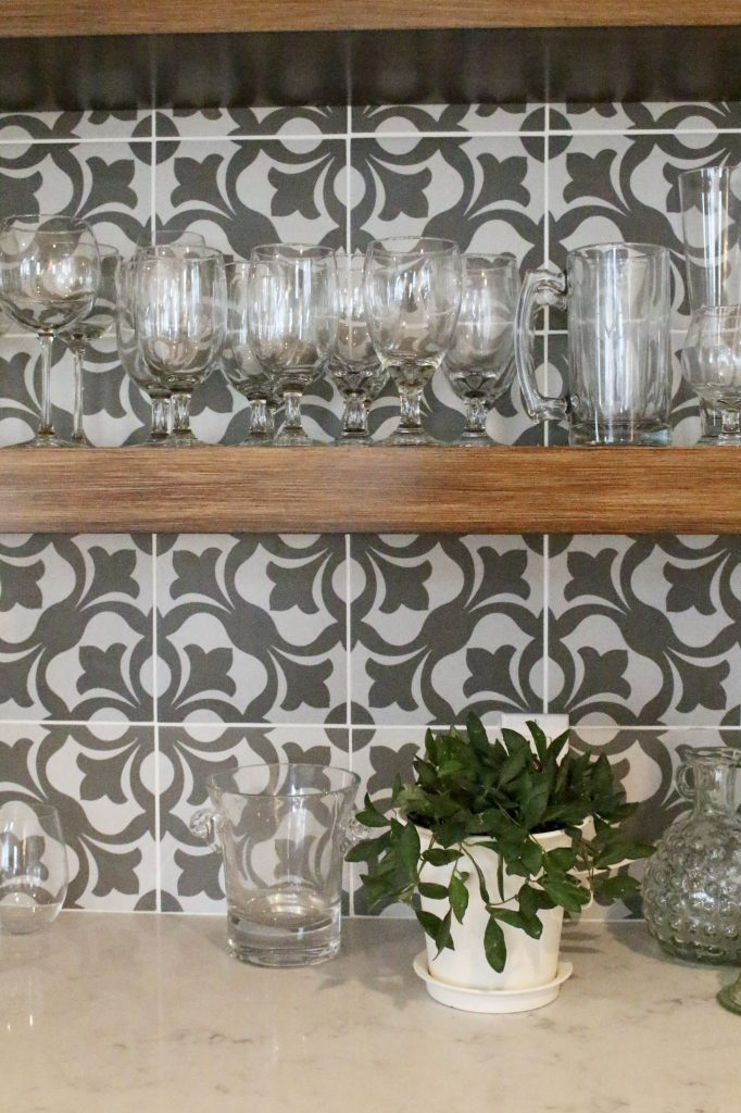 beverage center- bar nook- DIY- bar area- kitchen- pattern tile on the wall- cottage renovation- kitchen renovation- cottage kitchen- farmhouse style kitchen- room decor ideas- DIY projects- floating wood shelve- how to decorate a bar area