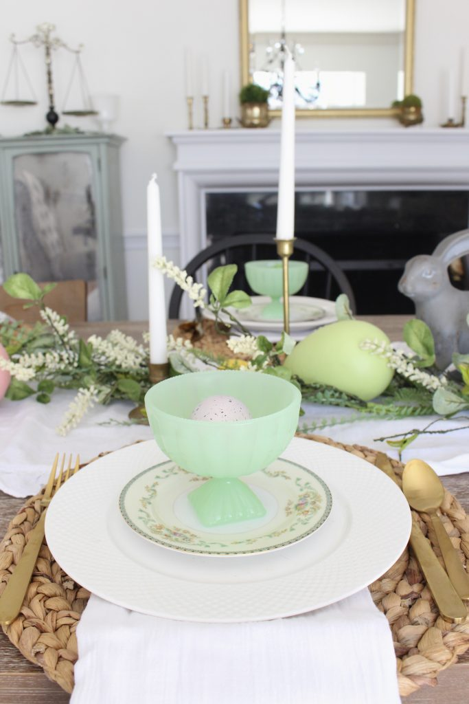 Easter- Tablescape- Pastel- milk glass- table setting- spring- decor- dining room- home decor- vintage china- Easter eggs- brass candlesticks- gold flatware
