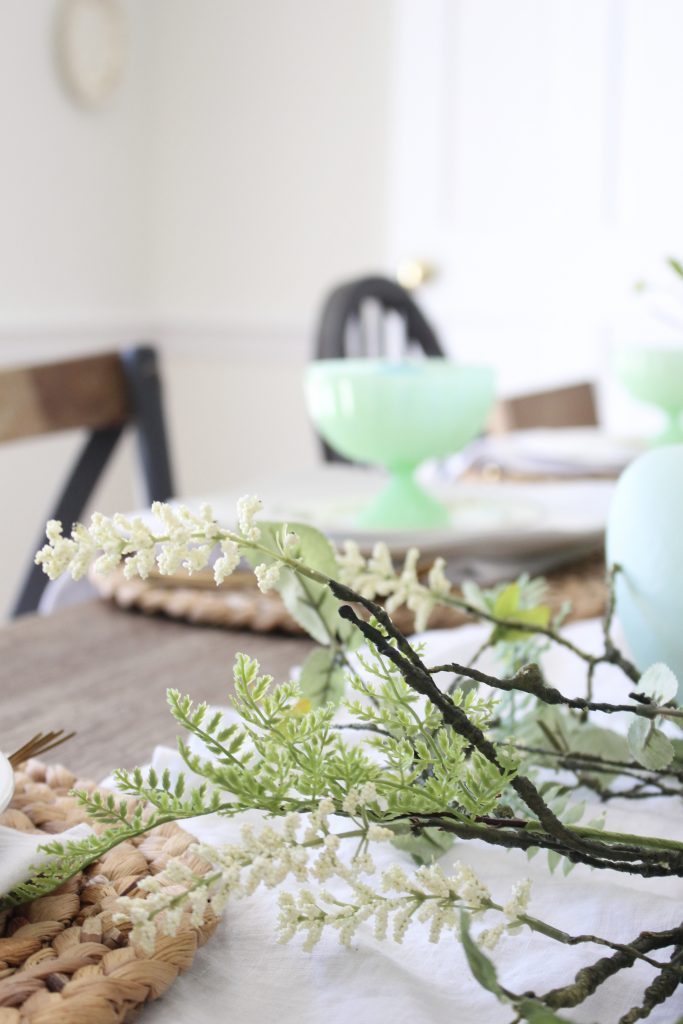 Easter- Tablescape- Pastel- milk glass- table setting- spring- decor- dining room- home decor- vintage china- Easter eggs- farmhouse chairs- mix and match dining chairs