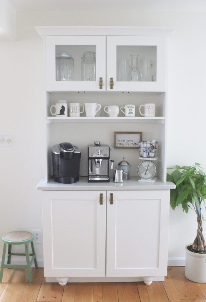 White- Cottage Kitchen- Renovation- Reveal- kitchen design- kitchen decorating ideas- kitchen decor ideas- room design- home decor- design- open shelving- custom island- white cabinets- professional appliances- DIY- Do it Yourself- wood range hood- cottage design- farmhouse kitchen- gray cabinets- coffee station- coffee bar