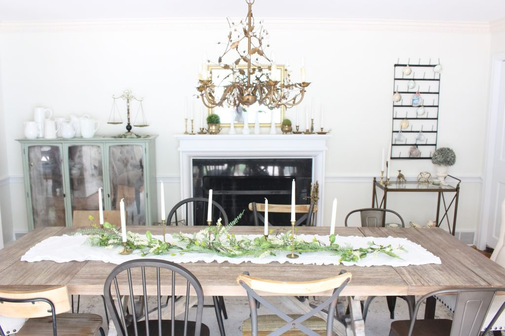 Summer mantel- mantle decor- home decor- antique brass- candlesticks- milk glass- dining room decorating- dining room decor- DIY- farmhouse dining room- french country dining room- fireplace decor- summer decorating- decoration ideas- room design