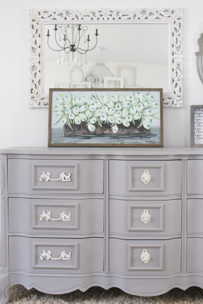 painted furniture- Deco Art- Artifact- home decor- DIY projects- gray painted dresser- master bedroom decor- bedroom design- cottage style- room decor ideas- white bedroom- farmhouse style- styling a dresser
