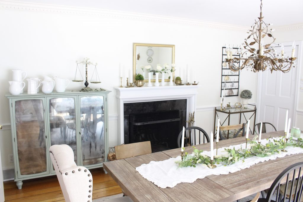 Hutch cabinet makeover- DIY- green- paint- cabinet- Do it Yourself projects- painted furniture- turning a hutch into a cabinet with legs- adding legs to furniture- dining room- furniture- storage piece- mirror spray paint- home decor- room design