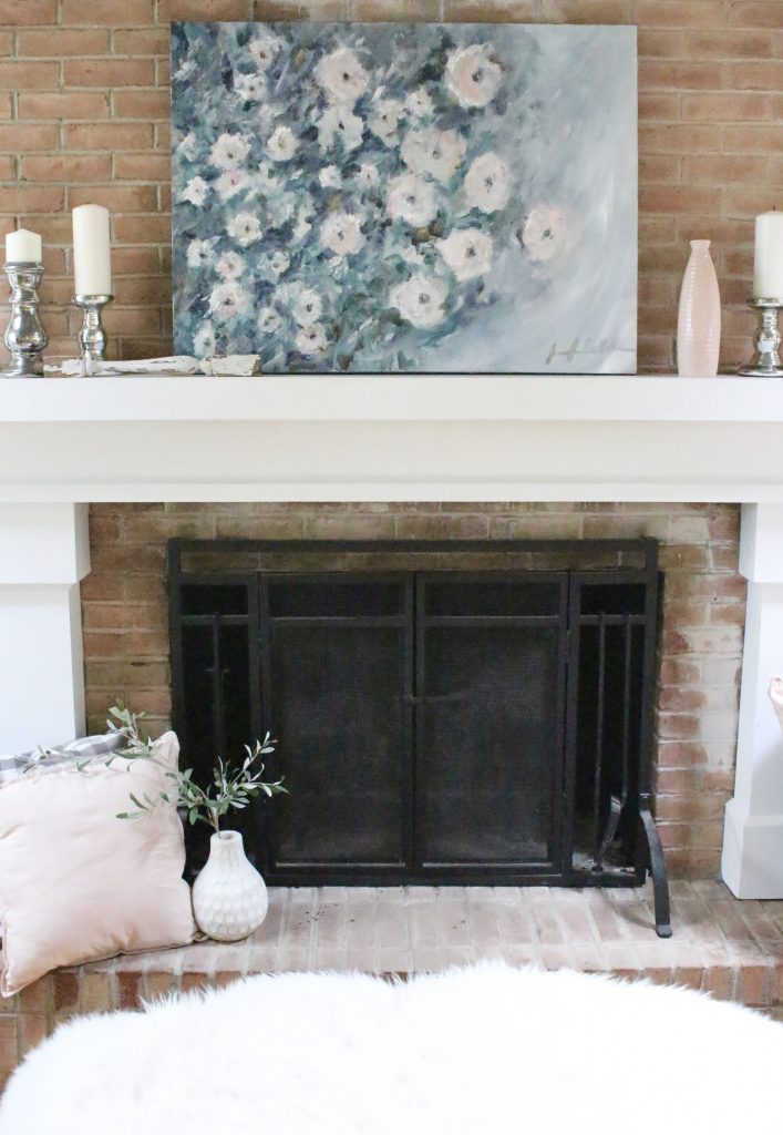 Artwork- flowers- painting- muted colors- wall gallery- home decor ideas- painting- Jennifer Collander- art- wall decor ideas- summer- fresh- room decor- pastel color palette- summer mantel decor- decorating your mantel