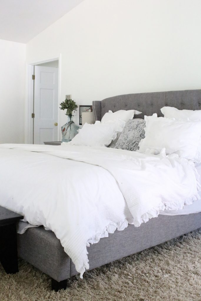 A light & Airy summer- bedroom- bedroom decor- bedroom ideas- bedroom decorating- master bedroom decor- home design- room design- painted furniture- shabby chic interior- design- white decorating ideas- white bedding