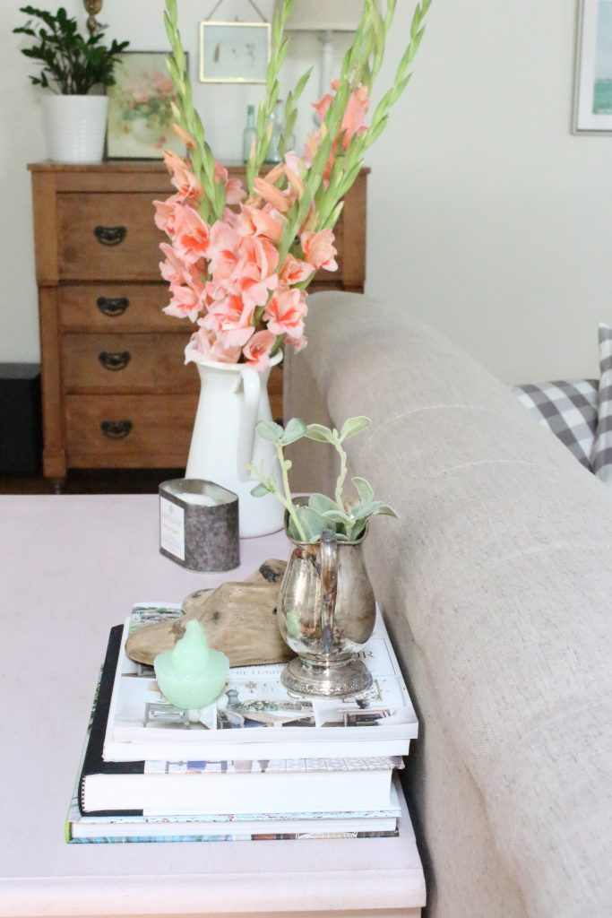 Pink paint- dresser- thrift store furniture- Annie Sloan- chalk paint- shabby chic- painted furniture- antique brass pulls- knobs- living spaces- home design ideas- decor ideas- painted ceiling- farmhouse style- living room- family room- decorating- vintage decor