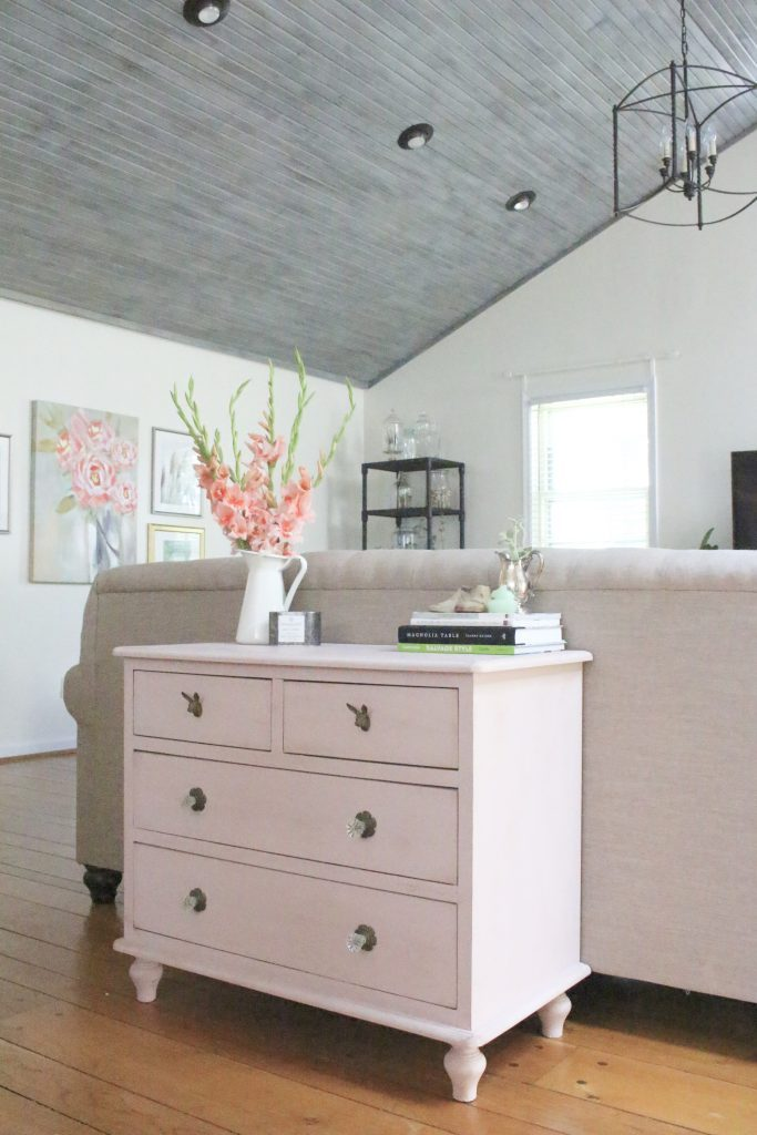 Pink paint- dresser- thrift store furniture- Annie Sloan- chalk paint- shabby chic- painted furniture- antique brass pulls- knobs- living spaces- home design ideas- decor ideas- painted ceiling- farmhouse style- family room decorating