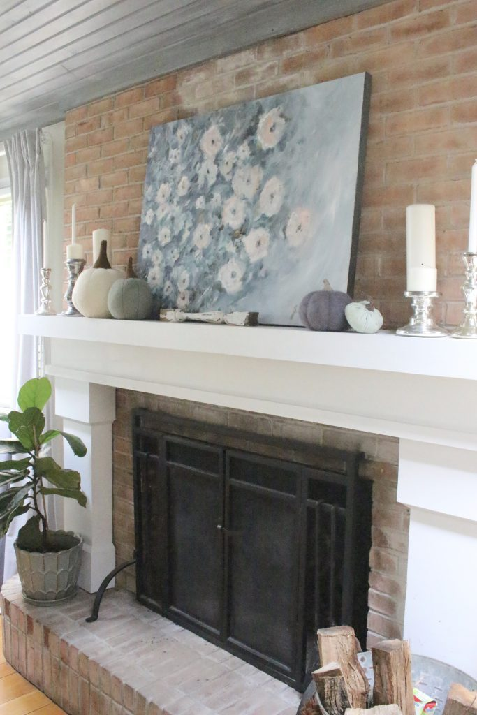 Fall pastels in our family room- pastel colors- neutrals- decorating for fall with pastel- seasonal decor- fall- autumn- living space- room design- wall decor- fall decor- pink- green- gray for autumn- decorating- decor ideas- non traditional colors for fall