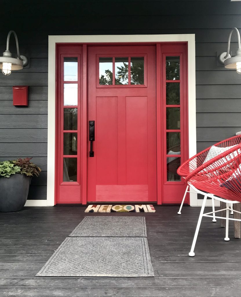 HGTV Urban Oasis Dream Home- red door- Clopay doors- English Contractor- urban design- home design- colorful home design- wallpaper- urban home