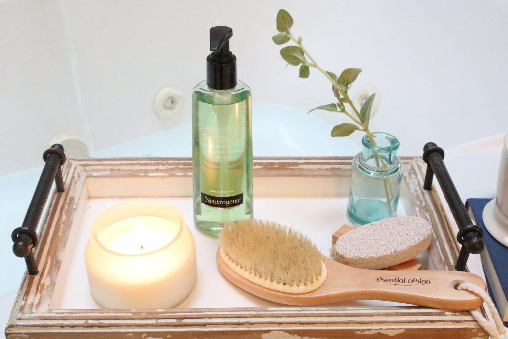 Neutrogena Rainbath at Walgreens- pampering yourself- bath and shower gel- bathroom tray- new bath product- Walgreens- Rainbath- spa at home for mom's