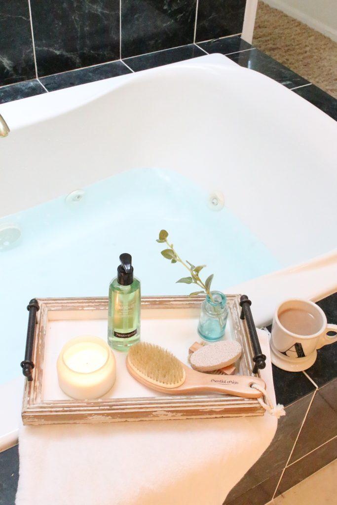 Neutrogena Rainbath at Walgreens- pampering yourself- bath and shower gel- bathroom tray- new bath product- Walgreens- Rainbath- spa products at home
