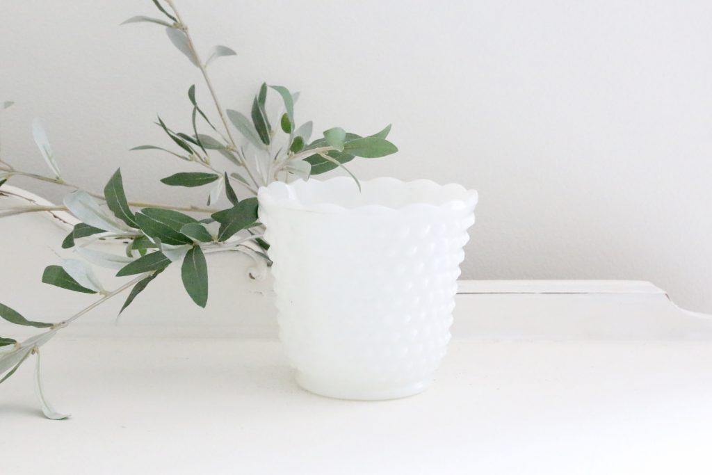 white- milk glass- pot- planter- flowers- vintage- plants- home decor- farmhouse- cottage