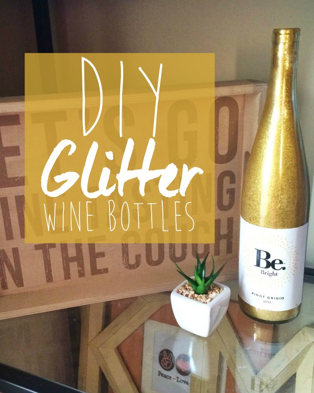 DIY Glitter Wine Bottle