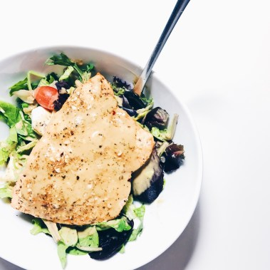 Easy Pan Seared Salmon with Salad