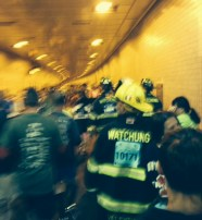 Many Firefighters wore full gear.