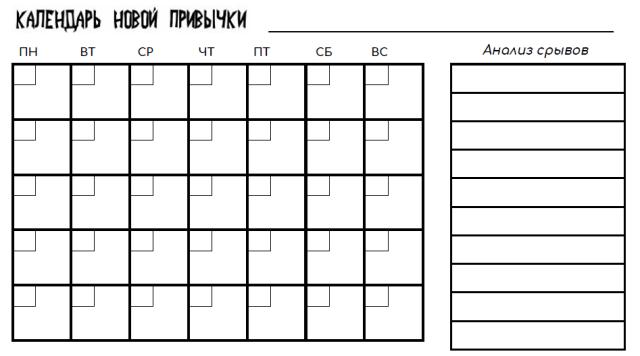 Календарь новой привычки I Блог Переменам Быть!