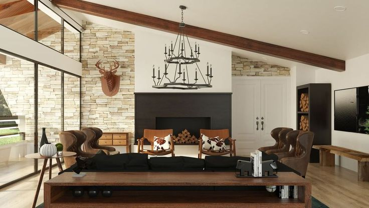 Rustic modern mountain design with 2-tiered chandelier, rustic furniture, stacked rock.