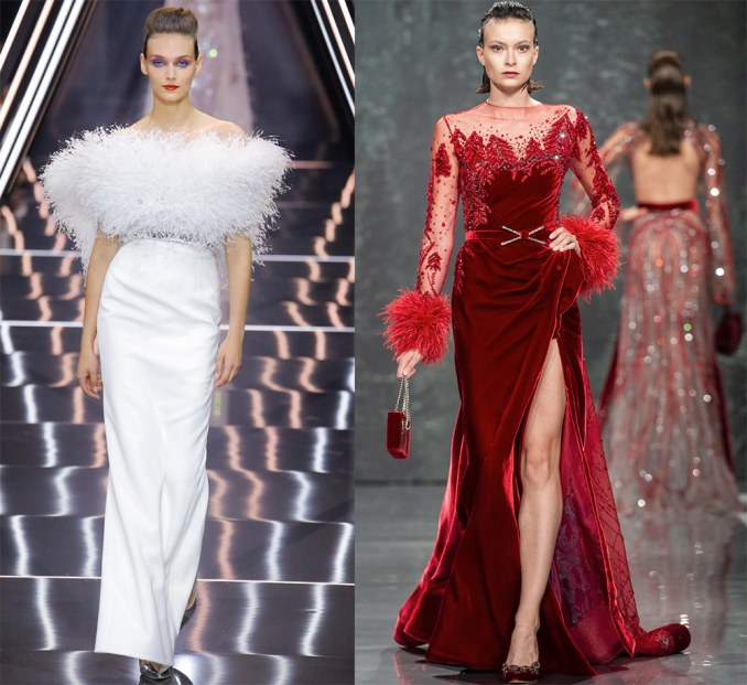 Holiday dresses with feathers on the skirt and shoulders 2