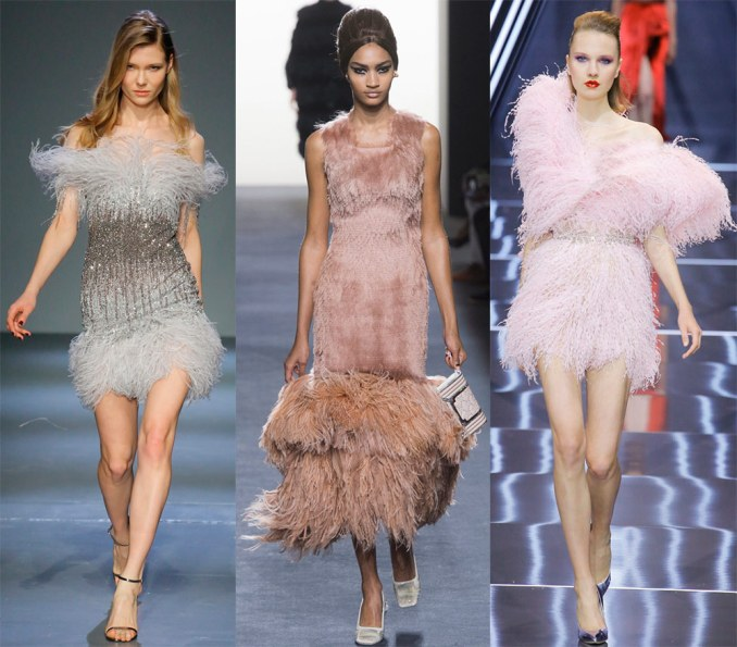 Holiday dresses with feathers