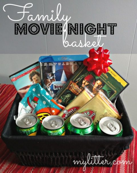 DIY Family Movie Night Basket Amazon DVDs Under 5