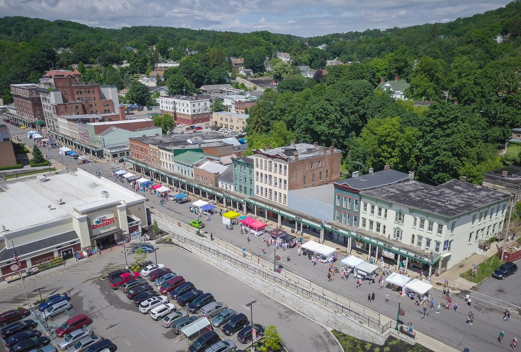 An aerial view of the 2017 Little Falls Cheese Festival as it gets underway.