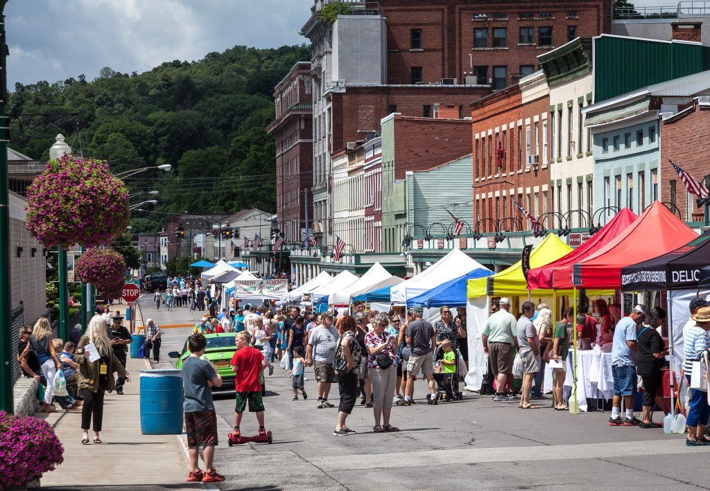 Photo by Dave Warner - Little Falls Cheese Festival on Main Street.