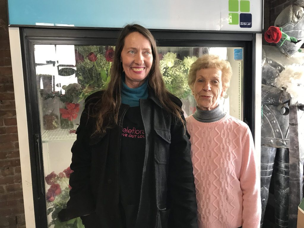 Photo submitted - Flowers are provided by Sandy Sklarz, owner of Rose Petals Florist on South 2nd Street in Little Falls. left to right: Sandy Sklarz,  Barbara Cinquanta, WCA Board member.