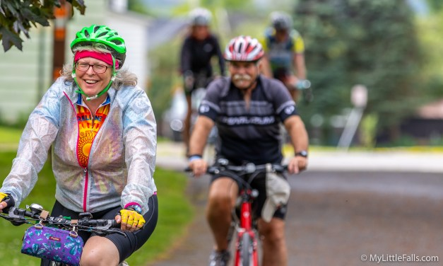 Bikes ride through Little Falls as they Cycle the Erie