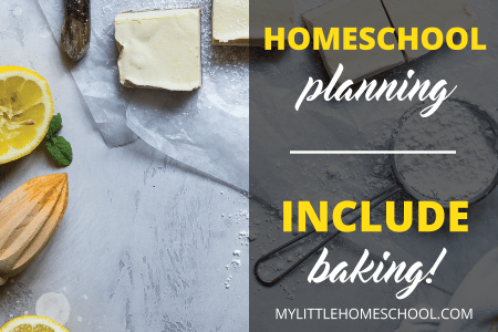 Homeschool planning should include planning with an image of lemon squares, a knife, lemons and flour