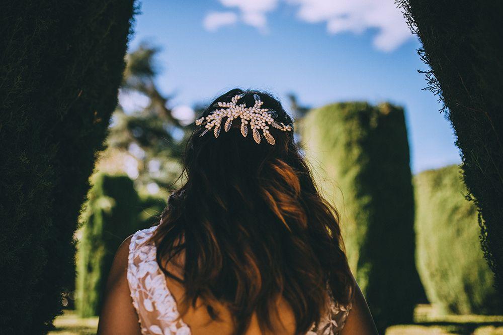tocado novia perlas