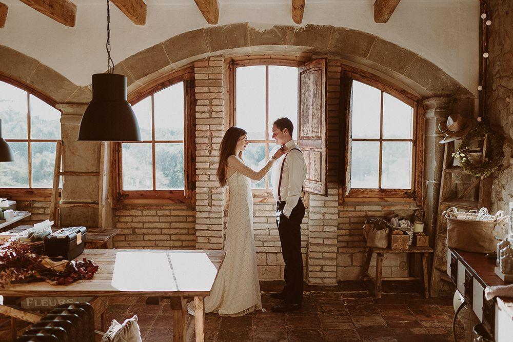 boda en masia otoñal