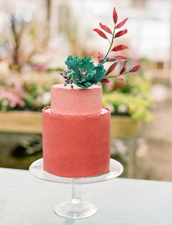 tarta de boda living coral pantone 2019