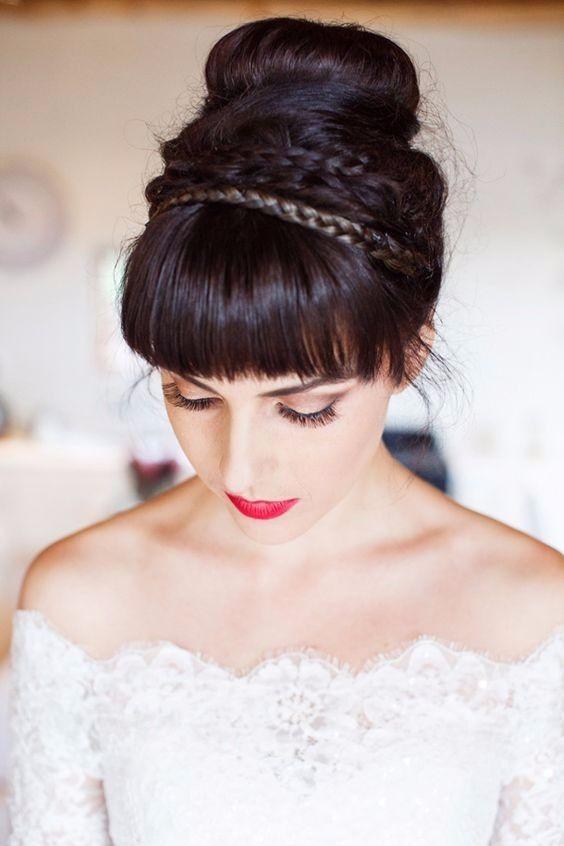 peinado de novia con flequillo y trenzas