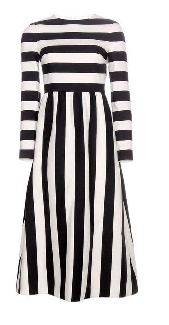 Valentino Striped wool and silk-blend dress