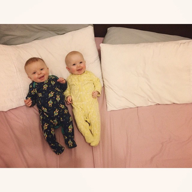 29/365 Nap time. This is it. Rosy cheeks, grumpy babies, no sleep.... Hope these teeth appear soon! #m4hp365 P.s they were hysterical moments before I stood on the bed. Which they found hilarious