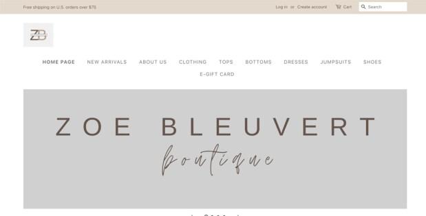 Zoe Bleuvert Boutique Website Screenshot